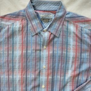 Johnston And Murphy XL Red Blue Plaid Dress Shirt
